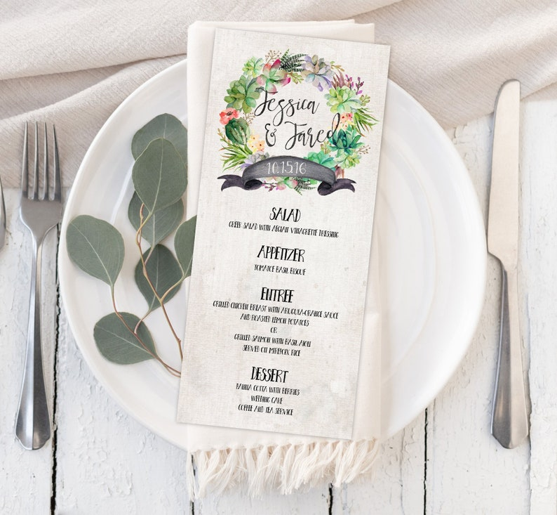 Rustic Succulent and Cactus Menu Printable or Prints with Free Shipping Wedding Parties Birthday Party Bridal Shower Events Graduation