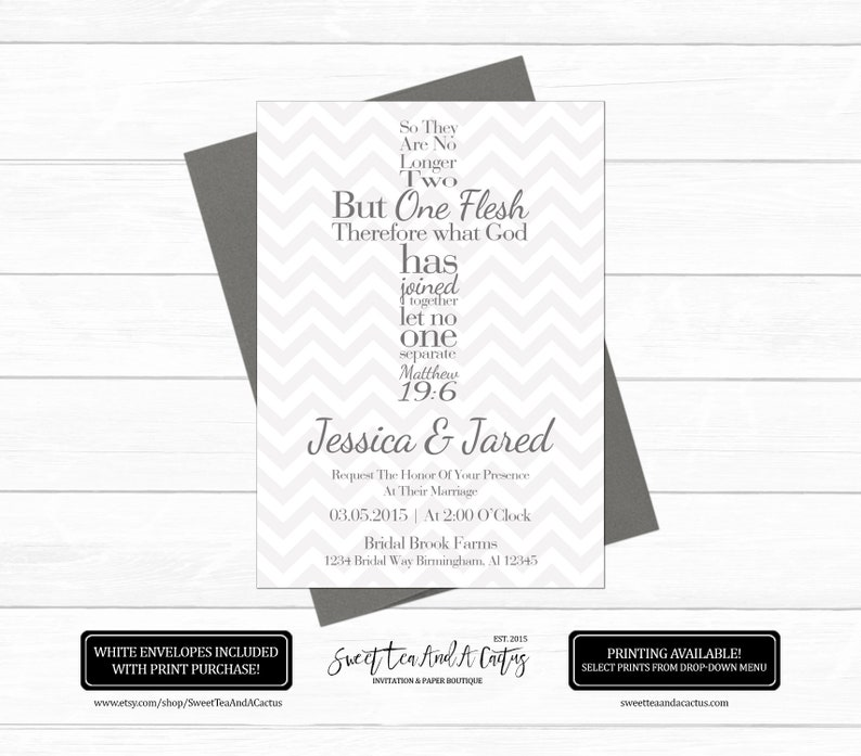 Bible Verse Cross Wedding Invitation Christian Matthew 19 6 Chevron One Flesh Inspirational Quote Printable Or Prints With Free Shipping