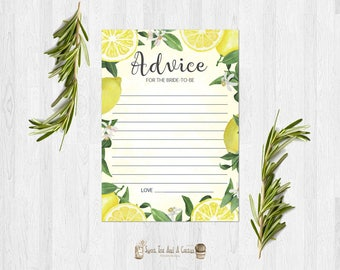 Lemon Bridal Shower Advice Card Advice for the Bride to Be Printable Digital File Fruit Citrus Wedding Games Yellow Summer Well Wishes
