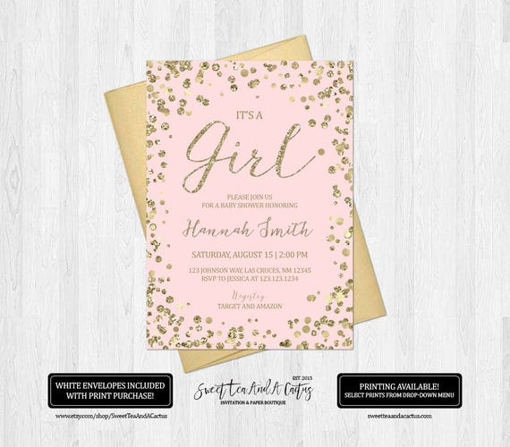 blush pink and gold baby shower invitation glitter confetti etsy