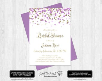 Lavender and Gold Bridal Shower Invitation Purple Wedding Shower Invites Printable Digital File or Prints with Free Shipping