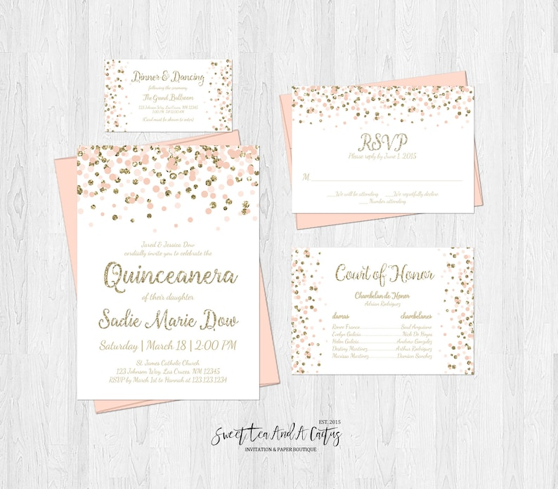 Quinceanera Invitation Set Blush Pink And Gold Glitter