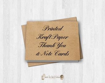 Printed Kraft Paper Thank You and Note Cards