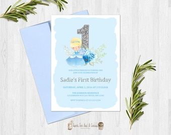 Cinderella First Birthday Invitation Princess Party Invites Fairytale Fairy Tale Blue Floral Digital File or Prints with Free Shipping Girls