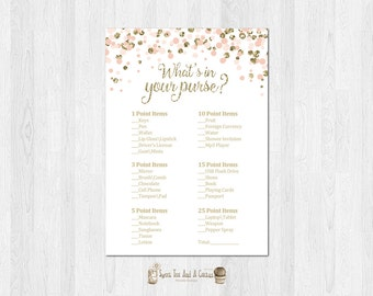 Blush Pink and Gold Bridal Shower Whats in Your Purse Game Wedding Printable Digital File Instant Download Glitter Confetti