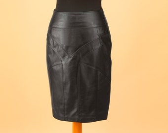 bc0c7c7c2051 Black leather skirt | Etsy
