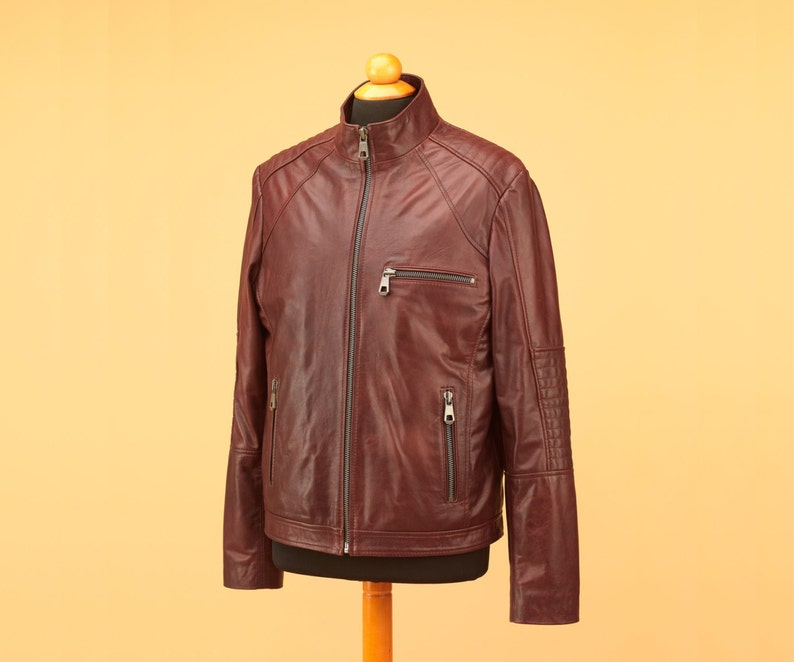 Brown men leather jacket with thick zippers image 0