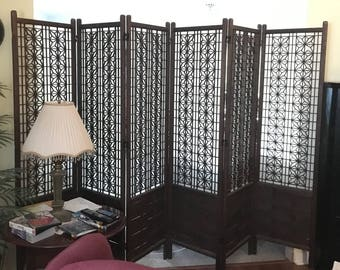 Vintage Mid Century Room Divider 6 Panel Wood Screen with Rice Paper backing & Geometrical Design // partition //Dressing Area Divider