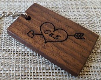Personalised Wooden Keyring, Wooden Keyring, Engraved Keyring, Walnut Keyring, Oak Keyring