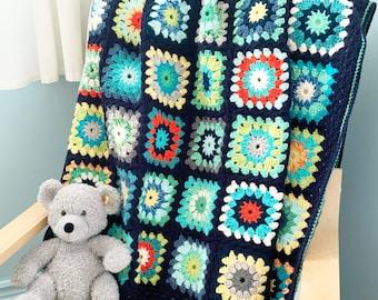 PATTERN   Finn's Granny Square Blanket Pattern   Crochet Granny Square Blanket   Starburst Granny Squares   DIGITAL DOWNLOAD