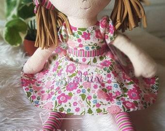 Personalised Pink Rag Doll,  Flower Girl Keepsake, Wedding, Christening, First Doll, Embroidered Name