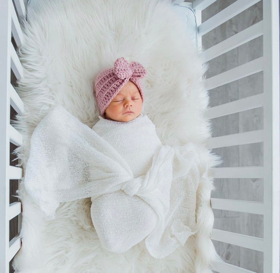 CROCHET BABY TURBAN Newborn Girl Coming Home Hat Turban Hat with Bow