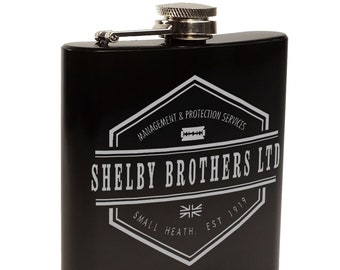 Peaky Blinders Whiskey Hip Flask, Gift for Him, Shelby Brother's Themed Gift With Optional Black Gift Box set