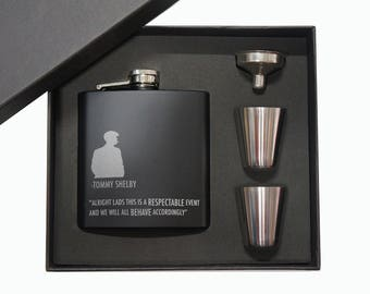 Gift for Him, Tommy Shelby,Peaky Blinders style Matt Black Hip Flask 5oz 2  With Optional Black Gift Box set