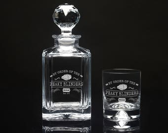 Peaky Blinders Decanter and Tumbler Gift set, Gin Set, Whiskey Gift. By Order of the Peaky Blinders