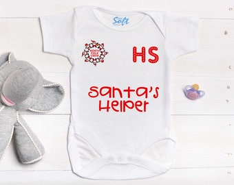 Baby First Christmas Baby Grow Baby Vest, Santa's Little Helper New Born Baby Gift,  First Baby Vest,