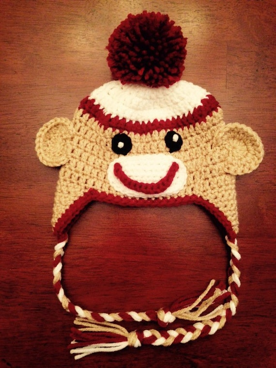 Crochet Sock Monkey Hat  Made to Order choose your size  2e93b943568f