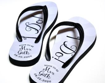 Custom Flip Flops, Bridal Flip Flops, Wedding, Just Married Flip Flops, Name Sandals, Bride, Bride Custom Flip Flops, Custom Sandals