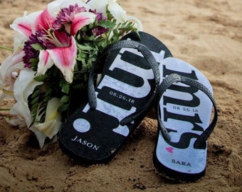 9860cc038a76f MR and MRS Bridal Flip Flops