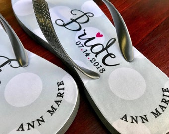 a02eadbd63a26 Bride Flip Flops Personalized Name and Date