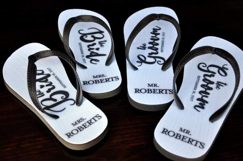fde0700d5f0a2 MR and MRS Bridal Flip Flops Custom Flip Flops Bridal Flip