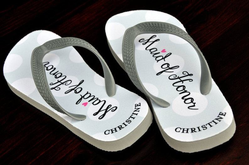 929ee3c3da7b31 Custom Flip Flops Maid of Honor Bridal Flip Flops Custom