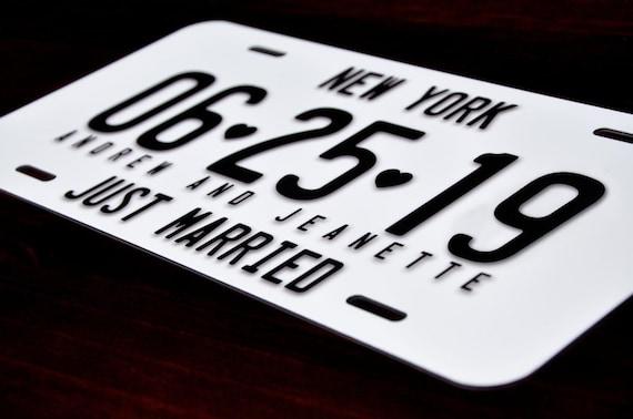 Fantaisie plaque minéralogique Just Married Plaque minéralogique Personnalisé Mariées Cadeau