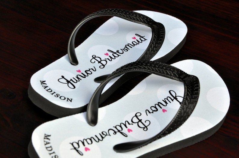 9ad1621c2fd8 Personalized Flip Flops Junior Bridesmaid Custom Wedding