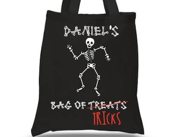 Halloween, Personalized Halloween Bags, Candy Bags, trick or treat, halloween bags, Disney, skeleton