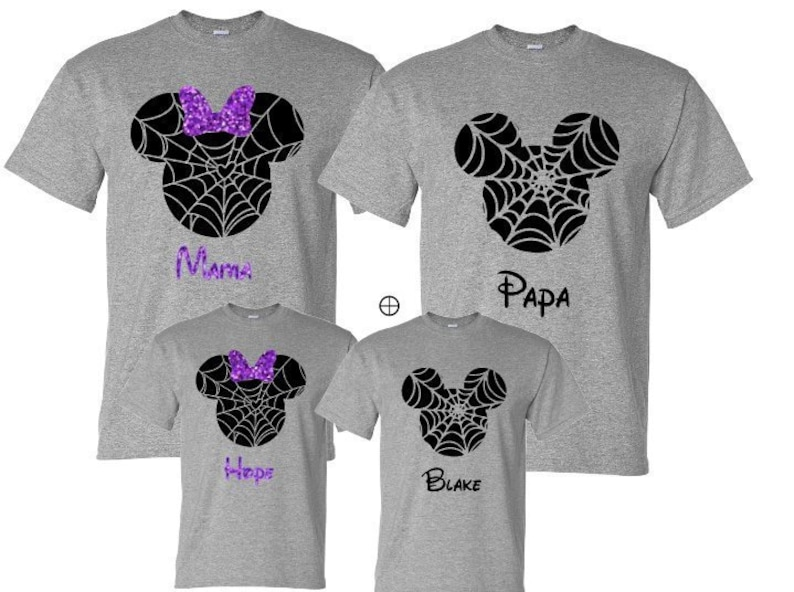 Disney Halloween Shirts Etsy.Disney Halloween Family Mickey Minnie Shirts Matching Vacation Shirts Spider Disney Shirts Vacation Mickey Head Shirts Spider Fall