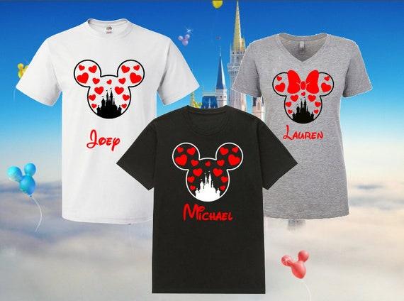Disney Girls Mickey Minnie Love Glitter Heart Valentine Tee Shirt T-Shirt