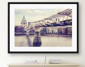 London Print, Millennium Bridge, London Photography, St. Paul's, Living Room Wall Art