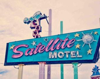 Nursery Wall Art, Jersey Shore Art, Vintage Motel Sign, Retro Modern, Beach Decor,  Teal, Pink, Cream, Travel Photography