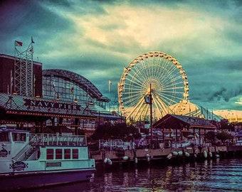 Chicago Print, Navy Pier, Chicago Photography, Ferris Wheel, Chicago Navy Pier Print