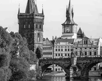 Prague Photography, Prague Print, Charles Bridge, Black and White Fine Art Photography, Gothic Wall Art, Travel Print