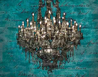 Chandelier Canvas Print, Chandelier Wall Art, Rustic Chic Decor, Blue and Black Wall Art