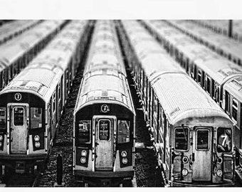 "Train Photography, Train Decor, Railroad Photography, Black and White, NYC Art Print ""Subway Cars"""
