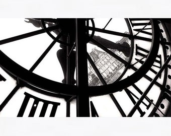Paris Photography, Large Paris Wall Art, Modern Art, Musée d'Orsay Clock, Black and White Photography, Bedroom Wall Art