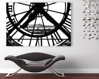 Paris Canvas Art, Large Canvas Wall Art, Orsay Museum Clock, Black and White Fine Art Photography, Paris Wall Decor