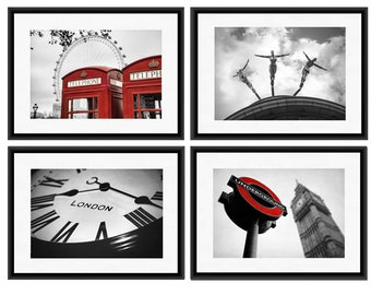 London Art Print Set, London Photography, London Prints, Set of 4 Prints, London Wall Art Series