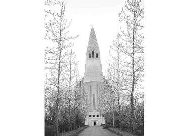 Iceland Print, Black and White Travel Photography, Iceland Photography, Hallgrimskirkja, Iceland Art, Church