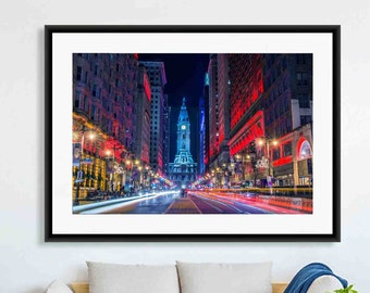 Philadelphia Print, Philly Art, Philly Art, City Prints, Colorful Wall Art, Night, Red, Blue, Purple, City Hall