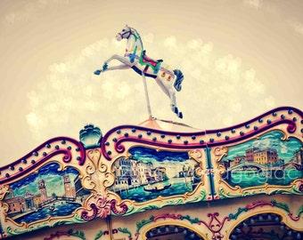 Nursery Print, Carousel Horse, Nursery Wall Art, Carnival Decor, Children's Decor, Nursery Decor, Beige, Blue, Pink
