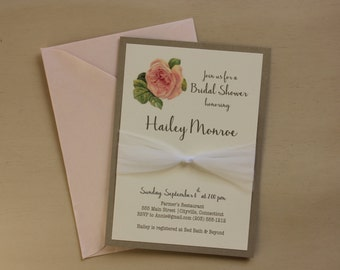 Floral bridal shower invitation with tulle knot belt- ivory & antique gold layers-  blush pearlescent envelope included