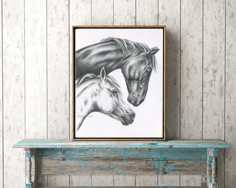 """ORIGINAL Charcoal Drawing of Horses, 18""""x24"""" White Horse Art, Wild Horses Sketch, Horse Drawing, Charcoal Horse, Wild Horse Art, Horse Decor"""