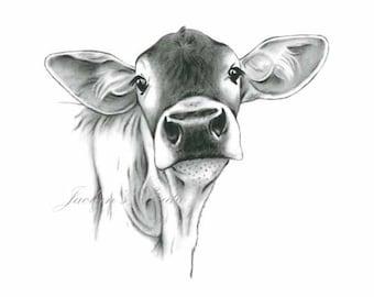 Jersey Cow Art Etsy