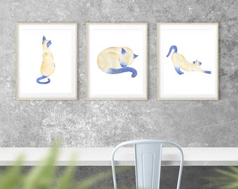 "Watercolor Siamese Cat Giclee Print (Set of 3),  8""x10"" cat paintings, Cat Art, Siamese Cat Art, Cat Painting, Cat Sketch, Siamese Sketches"