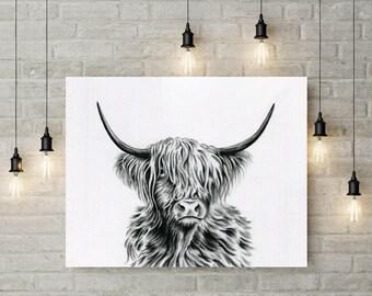 "Highland Cow Art Print, Charcoal Drawing, 10""×8"" Cow Art, Horned Cow drawing, Cow sketch, Cow Decor, Charcoal Cow, Farm Art, Farm Decor"