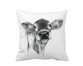 Farmhouse Pillow, Farmhouse Decor, Cow Pillow Cover, Cow Home Decor, Calf Pillow, Cow Decor, Farm Decor, Nursery Pillow, Jersey Cow Pillow