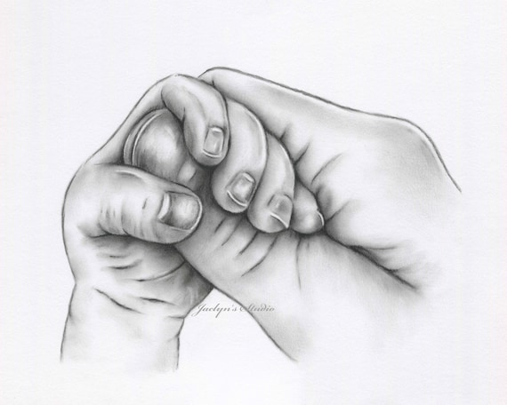 Original Charcoal Drawing Mother And Baby Hands Hands Etsy